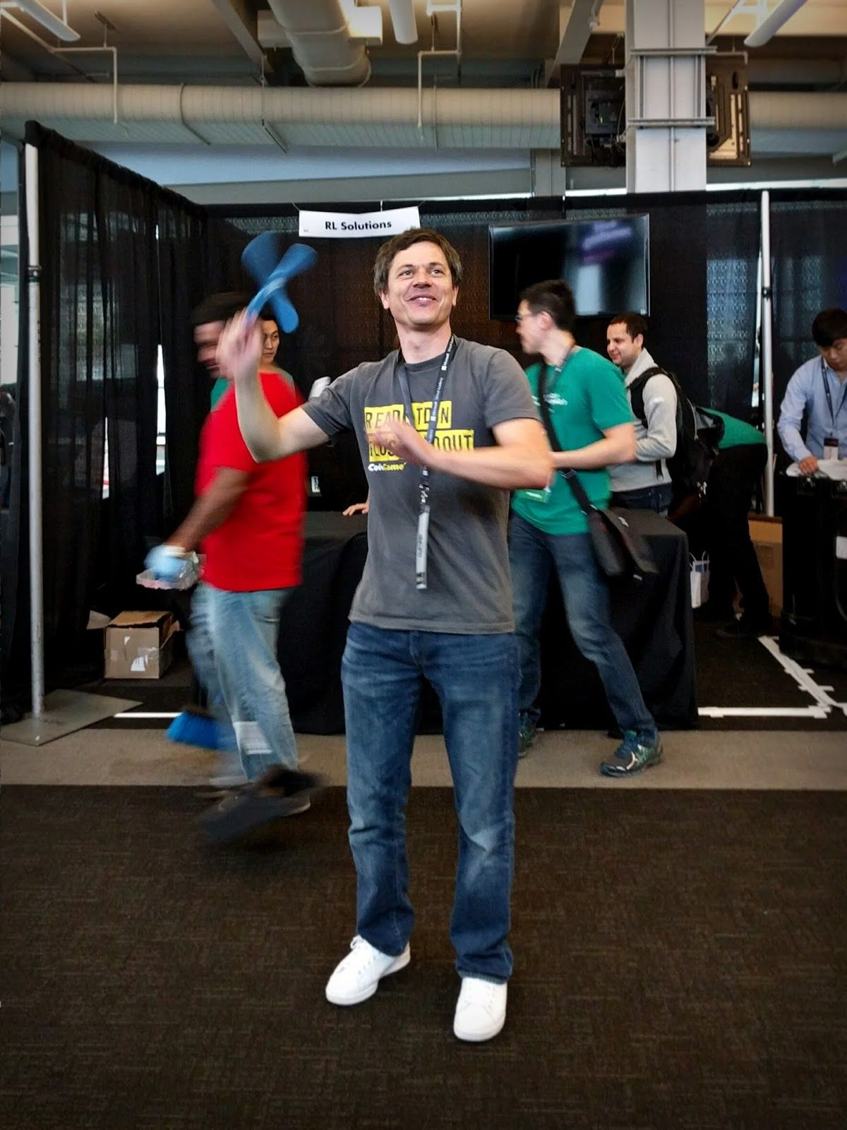 Tom with a boomerang at DeveloperWeek
