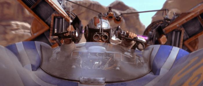 Anakin piloting his pod racer