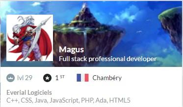 Magus' profile card