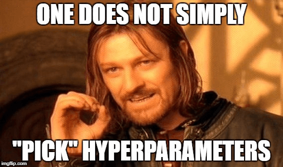 "one does not simply ""pick"" hyperparameters. Boromir meme"