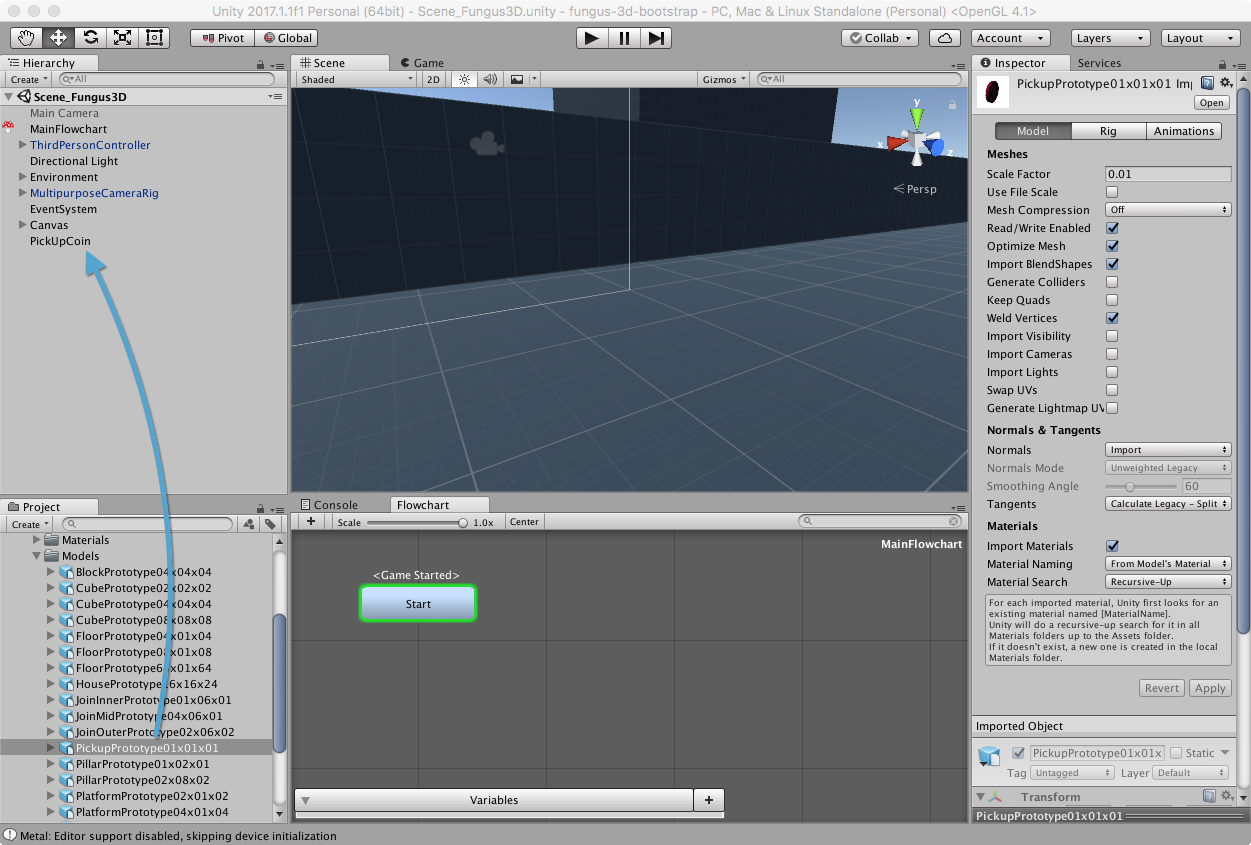 Creating the GameObject - Unity3D and Fungus Tutorial: PickUps