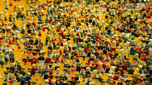 Crowd of lego characters