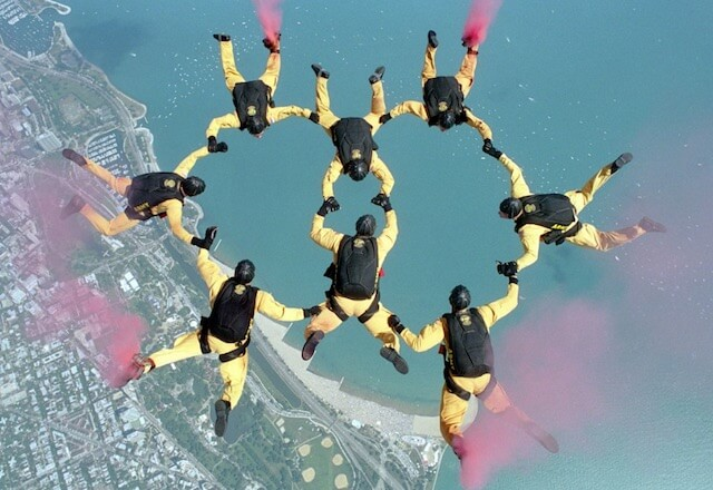 Team of parachute jumpers